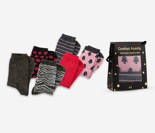 Bim 2'li Hediye Kutulu Simli Çorap Kadın