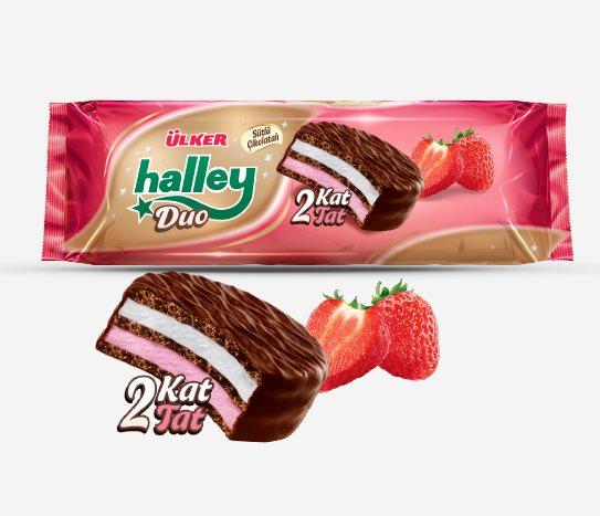 Bim Sütlü Çikolata Kaplı Çilekli Marshmallowlu Bisküvi